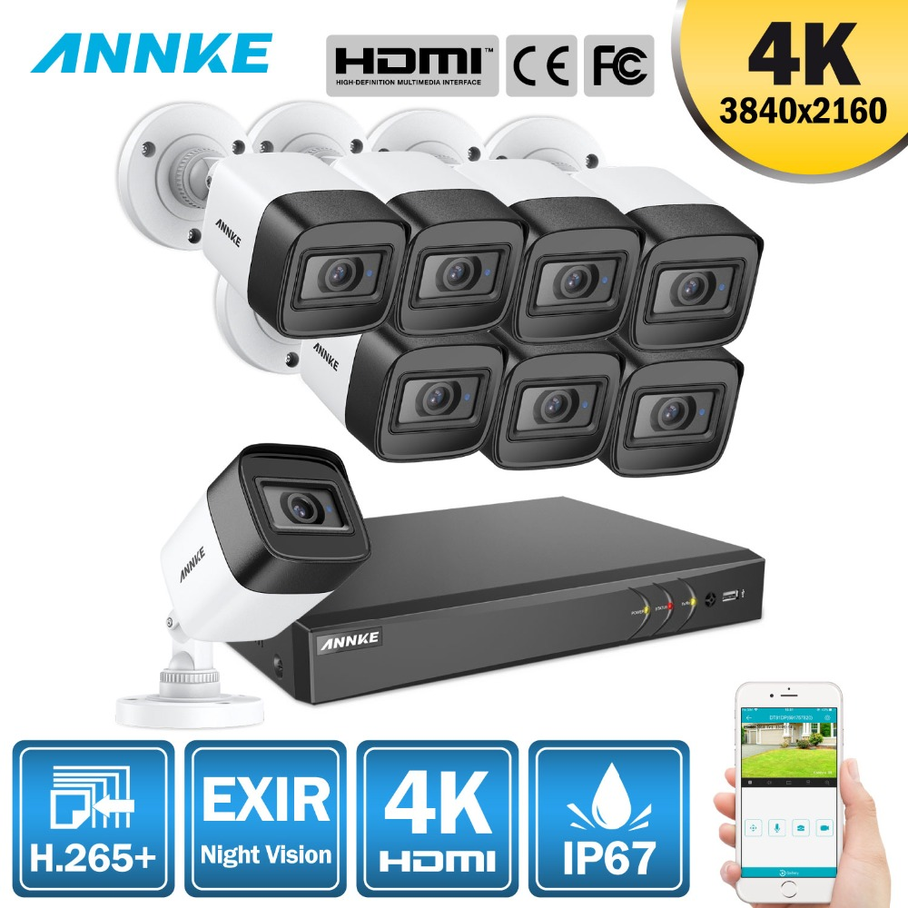 ANNKE 4 K Ultra HD 8CH DVR H.265 + caméra cctv Système de Sécurité 8 pièces 8MP système cctv IR Extérieure vision nocturne Vidéo kit de surveillance