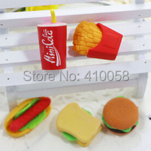 Free shipping NEW BULK ORDER Promotion food erasers fries and coke  Eraser Set,50 pieces per lot plus free gifts.