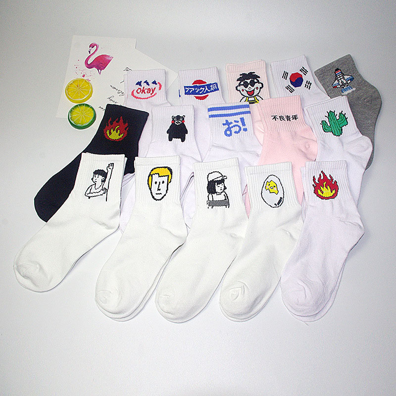 New ladies daily   socks   Harajuku Korea Japan cotton kitten flame style   socks   men Chinese cactus gun shark alien student   socks   S-8