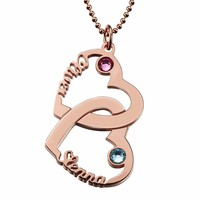 Custom Sterling Silver 925 Necklace Double Name Heat Pendant Necklaces Collier Ras Du Cou Chain Romantic Gift for Lover Couple