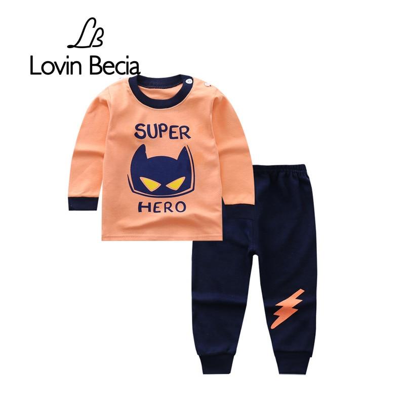 Lovinbecia Детские футболки Штаны комплект Осенние комплекты одежды для маленьких мальчиков и девочек дети мультфильм Повседневные комплекты одежды Одежда для младенцев трек Костюмы