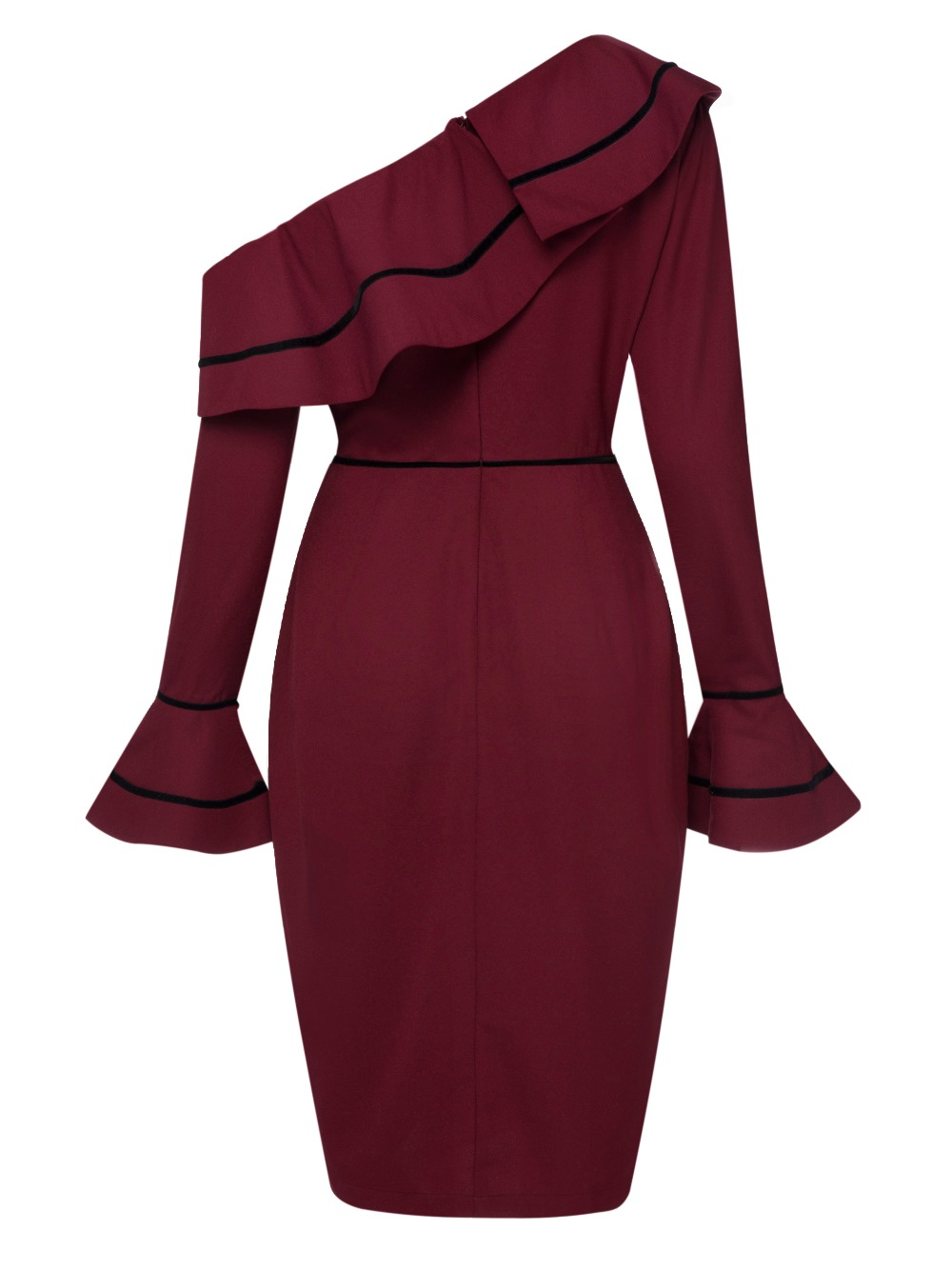 9ff178f881 Wine Red Asymmetric One Shoulder Autumn Pencil Dress Flare Long ...