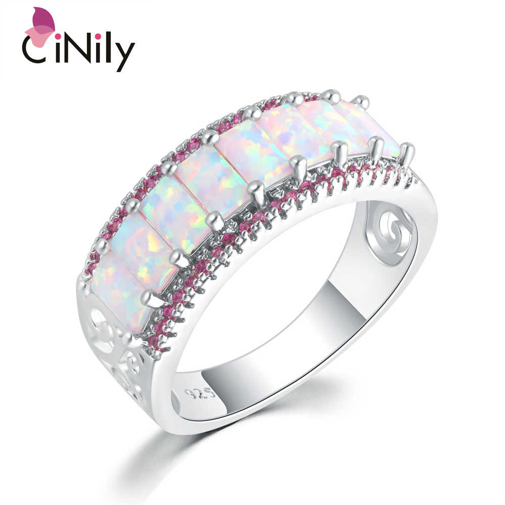 CiNily สีขาวและสีส้มโอปอล Cubic Zirconia แหวนเงินเครื่องประดับฤดูร้อนของขวัญผู้หญิงขนาด 6- 10