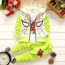 Newest trendy fashion Spring Baby Boys clothes set Spider Man Suits Set Kids Vest+T Shirt+Pants 3 Pcs Sets Children Suits