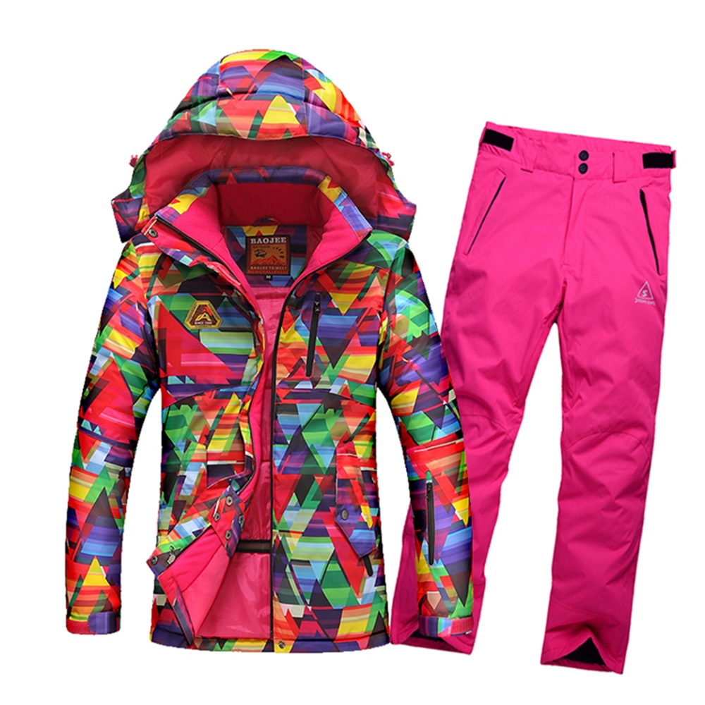 ФОТО SALE!! The new 2016 female ski suits jacket + no bib pants women's water-proof breathable thermal cottom-padded snowboard set
