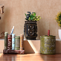 Retro Creative Pen Holder Decorations Desktop Home Living Room Office Store Multi - Functional Ornaments Pots Gifts