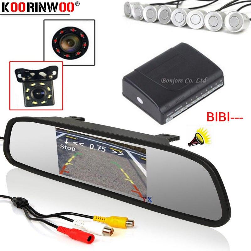 Koorinwoo rétro-éclairage à ultrasons Parktronicar Auto vue arrière caméra moniteur RCA vidéo voiture Parking capteur 8 sondes Buzzer ensemble avant