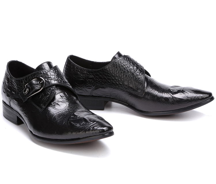 Crocodile Genuine Leather Men Oxfords Buckles Pointed Toe Male Spring Wedding Single Oxfords Shoes Black Wine Fashion Shoes pjcmg fashion spring autumn pointed toe black red lace up flats round toe genuine leather oxfords men dress wedding shoes
