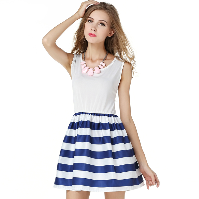 Women Summer Base Dress Patchwork A-Line Dress White and Blue Striped Dress  with Tank Sleeve O-neck 4dcabb106
