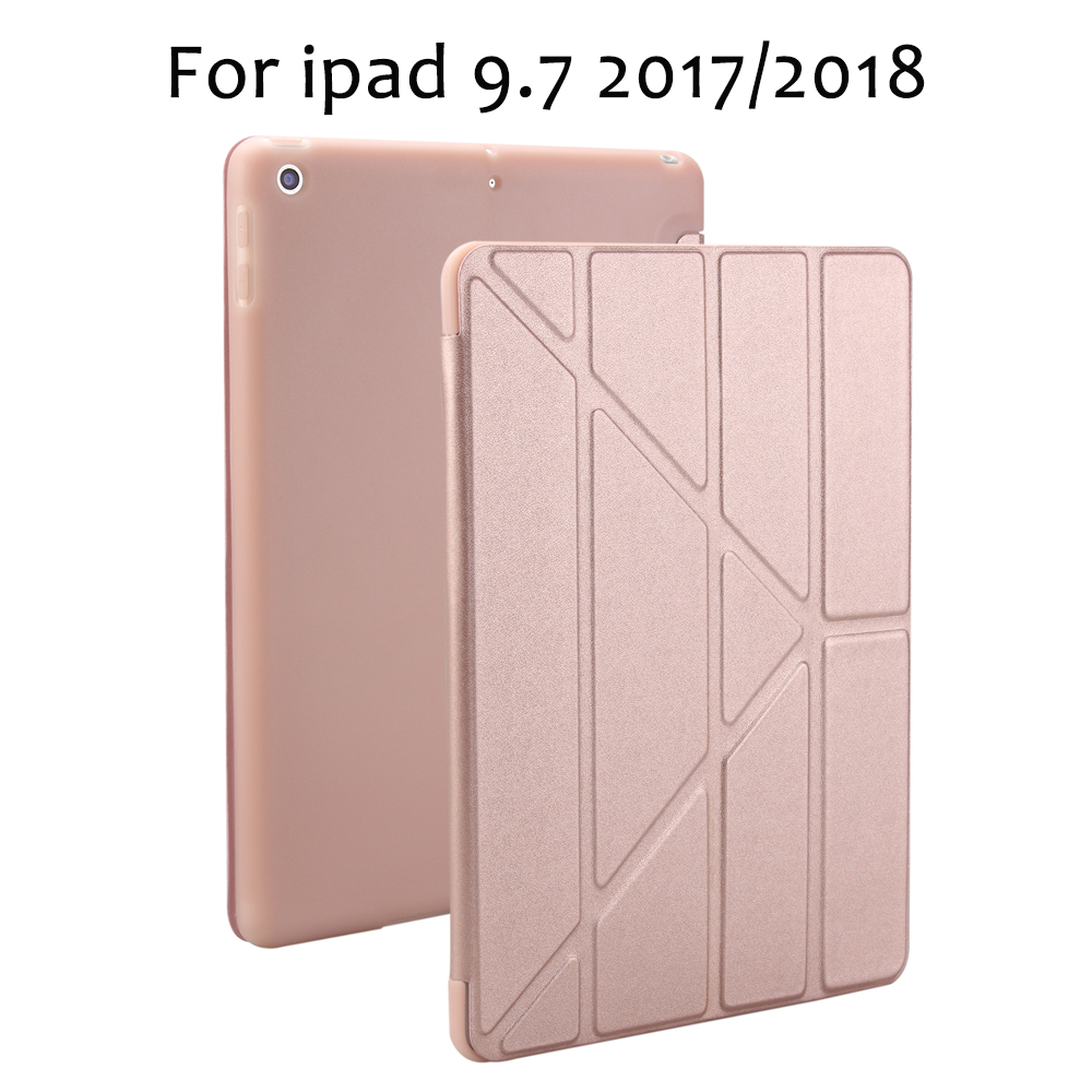 Case for New iPad 9.7 inch 2017 2018 Release, Soft silicone bottom+PU Leather Smart Cover Auto Sleep For New iPad 9.7 new soft 100