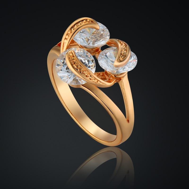 Обручение Кольцо Новый Для женщин Подарки Золото-Цвет Для женщин S Золото  Кольца 6 мм Классический античный Обручальные кольца Кольца для . e8727411bce
