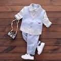 Nova primavera 2017 de algodão moda bebê crianças crianças conjuntos de roupas para meninos cavalheiro ternos