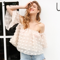 Simplee Sexy Off Shoulder Chiffon Blouse Women Summer Flare Sleeve Lace Blouse Elegant Beach Party Blusas