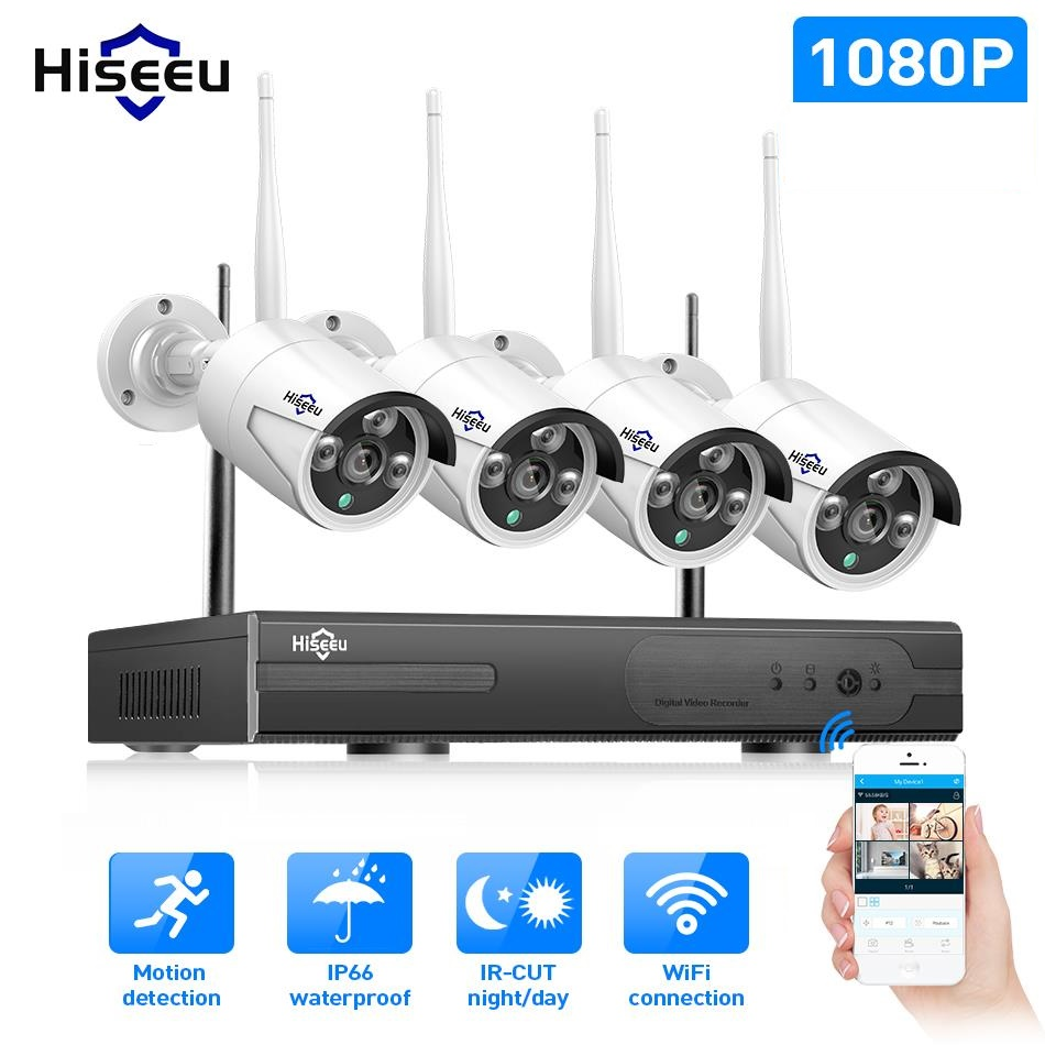 WIFI IP Caméra Bullet 1080 p 4 pcs NVR Sans Fil CCTV Système de Sécurité Kit Infrarouge Cam la Visualisation À Distance par IP pro 1 t hdd