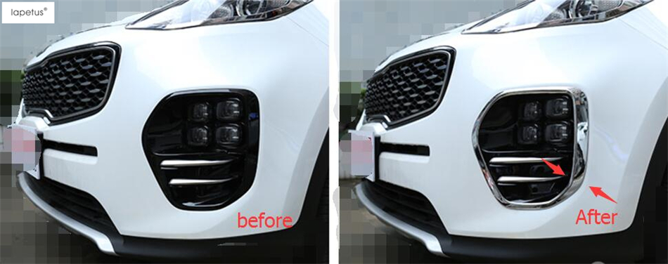 Lapetus Accessories For KIA Sportage 2016 2017 2018 Bright Style Front Head Fog Light Lamp Protector Molding Cover Kit Trim