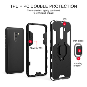 Image 3 - Luxury Armor For Xiaomi Pocophone F1 Case Shockproof PC+TPU Protective Back Cover For Poco F1 Case Magnetic Holder Ring Bracket