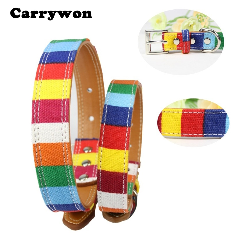 Carrywon Adjustable Plain Neck Collar Colorful Dog Collars Rainbow Canvas Leather Dog chain For Pet Dog Supply Size S M L XL 2XL