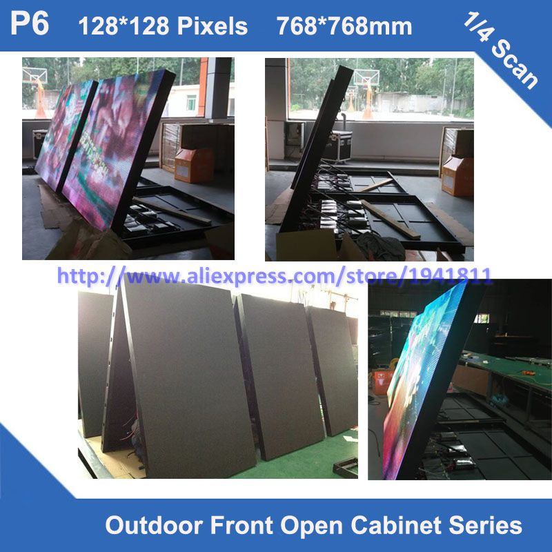 TEEHO LED Display Outdoor P6 Fixed Installation Front Maintainance Cabinet 768mm*768mm 1/4 Scan Led Module Panel Cabinet