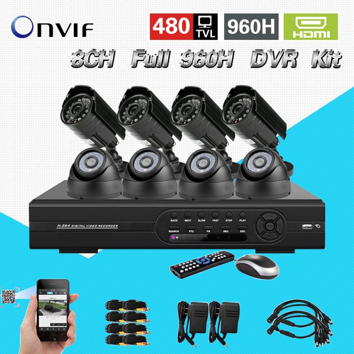 TEATE 8CH full D1 DVR recorder kit 8PCS 480TVL CCTV Camera video Home Security CCTV surveillance System HDMI USB 3G WIFI CK-115