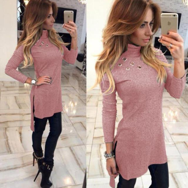 Dress Women Long Sleeved Sweater Dress Pullover High Neck Shirt Slim Knit Casual Dress WS2522R