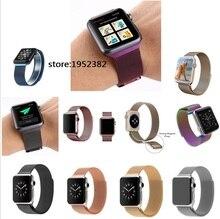 Colorful apple watch milanés banda de bucle magnético banda para apple watch pulsera de la correa correas de reloj de acero inoxidable con adaptador