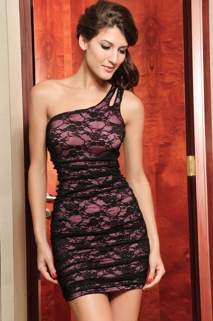 2013 asymmetrical pink/black lace decoration dress slim hip tight fitting skirt one-piece dresses sexy skirts freeshipping 1pcs