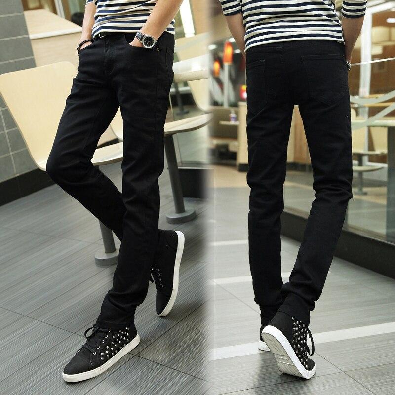 New 2018 Mens Fashion Boutique Cotton Pure Color Quality Slim Leisure Black Jeans / Male Pure Color Casual Jeans Men Pants