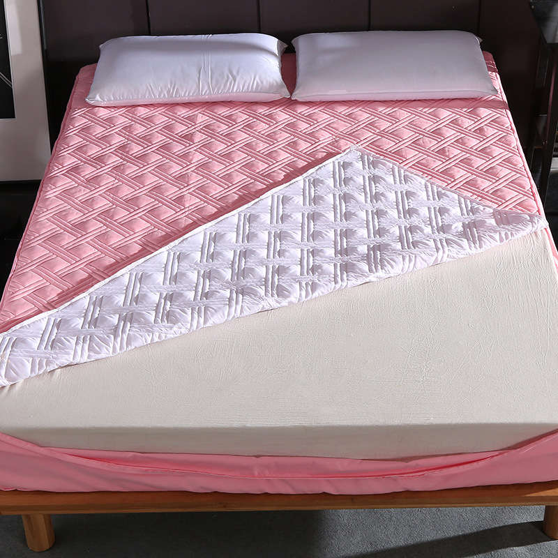 Thicken Solid Color Bed Mattress Cover Protector Pad Quilted Fitted Sheet Bed 6 Sides All Sealed With Zipper Home Hotel Textile