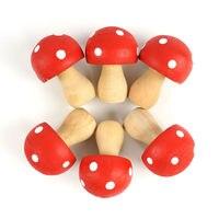 Home Decoration Accessories 6pcs Wood Dots Mushrooms Miniature Fairy Garden Houses Decoration Novelty Polka Mini Craft