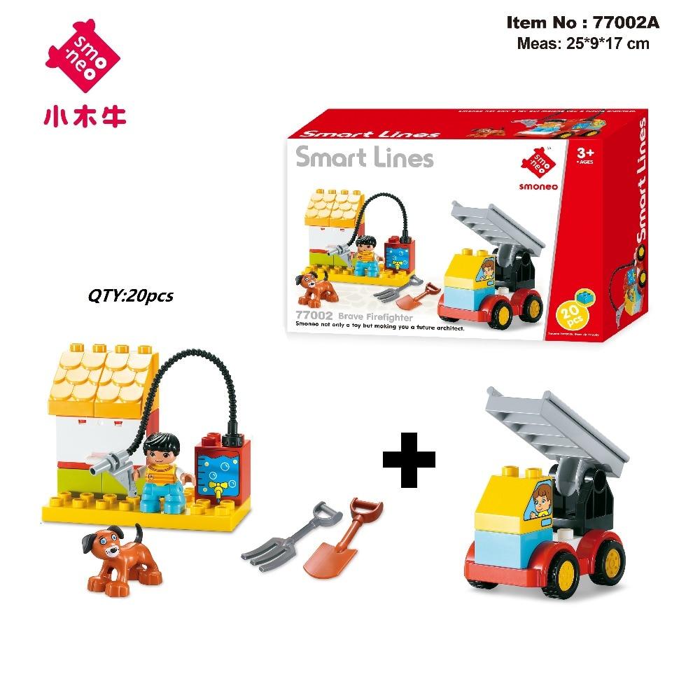 SMONEO 77002 series Fit for Lego Duploes DIY Smart Line Portside Engineers Car Big Size Building Blocks Bricks Baby kid Toys