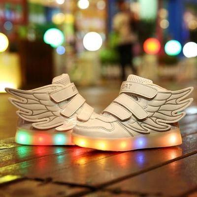 Hot Selling New 2016 Fashion Wings Children Sneakers gold Black Kids Light Shoes High Top Boys girls boots luminous Led Shoes new hot sale children shoes pu leather comfortable breathable running shoes kids led luminous sneakers girls white black pink