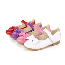 Spring Autumn baby girl shoes Kids for children bowknot Students leather 2-15years white red pink purple