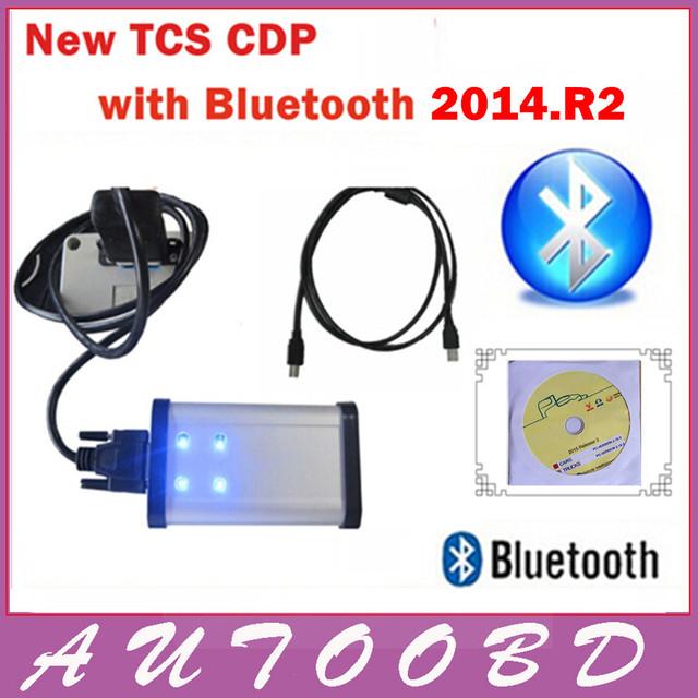 2014.2 R2 CD + ativar livre com LED TCS CDP PRO + Bluetooth para Carros + Caminhões com o vôo e falar função auto Ferramenta de Diagnóstico
