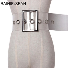 RAINIE SEAN Wide Ladies Belt Pin Buckle Belt For Women Cummerbund PVC Transparent Female 2019 Fashion Beand New Belt