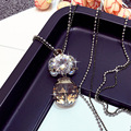 Double Layers Crystal Ball Long Necklace Women Bijoux New Fashion Jewelry Sweater Necklaces & Pendants Cute Gift