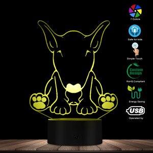 Image 2 - Carino Forma di Cane Da Pastore Disegno per Il Cliente di Nome 3D Optical Illusion Luce di Notte Incandescente LED Visivo Lampada Pet Puppy Lover Regalo