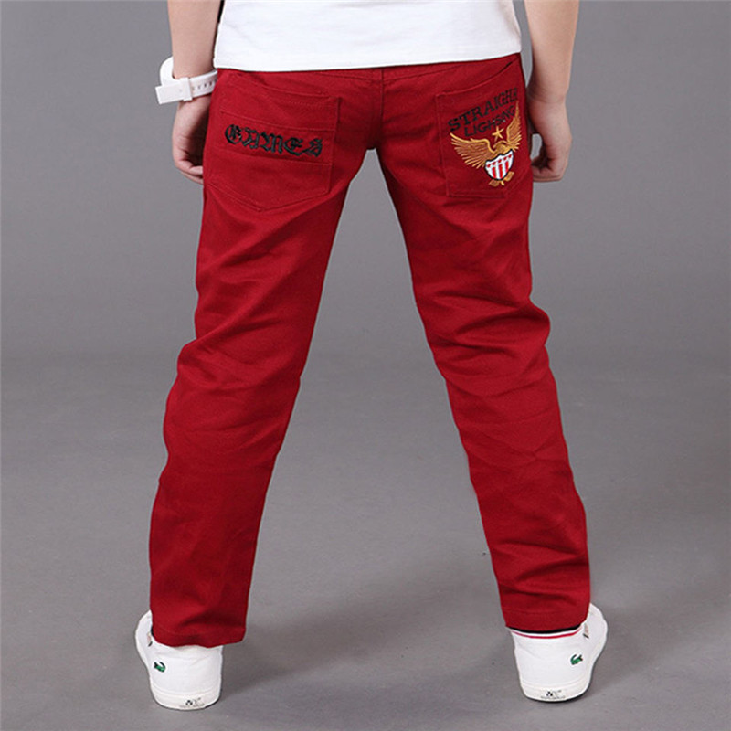Autumn Boys Pants For Boys 2018 Casual Cotton Elastic Trousers Waist Pencil Pants Children Clothing Kids Eagle Eembroide Pants high waist lace panel pencil pants