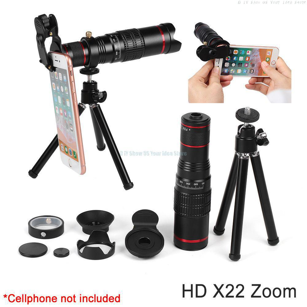 Portable HD 4K 22x Zoom Mobile Phone Telescope Lens Telephoto Lente For Huawei Pro L G Smartphone Camera with Tripod and Bag Kit