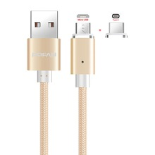 2-In-1 Braided Magnetic Micro USB Type C USB-C Data Charging Cable For Samsung LG Oneplus HTC Huawei Xiaomi Android Phone