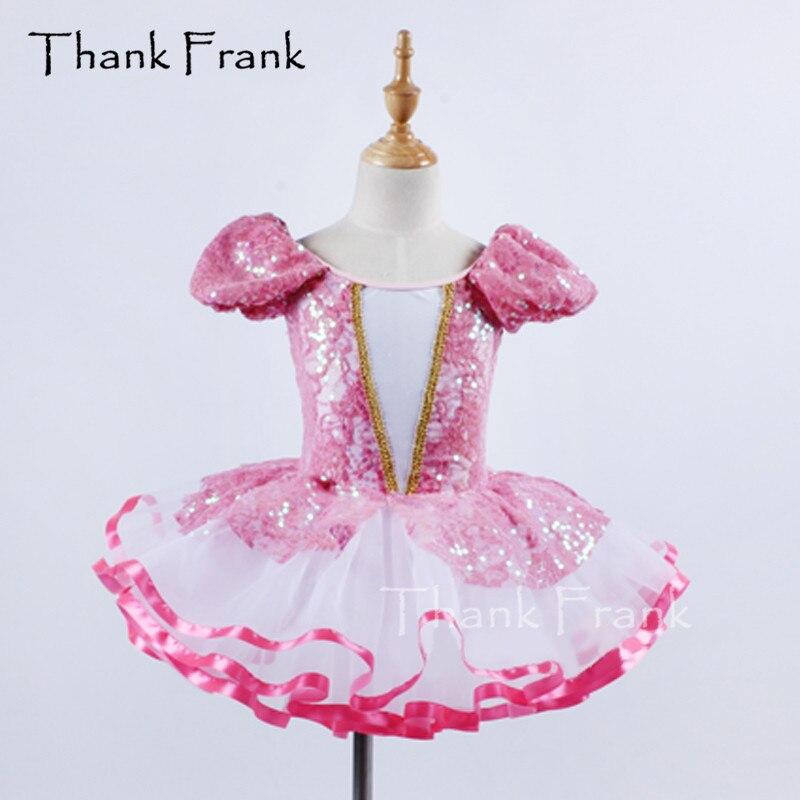 Princess Sequin Dance Dress For Girls New Design Puff Sleeves Ballerina Clothes For Women Ballet Dancers