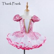 Танцевальное платье принцессы с блестками для девочек; дизайн; пышные рукава; одежда для балерины для женщин; Балетные танцоры; C421