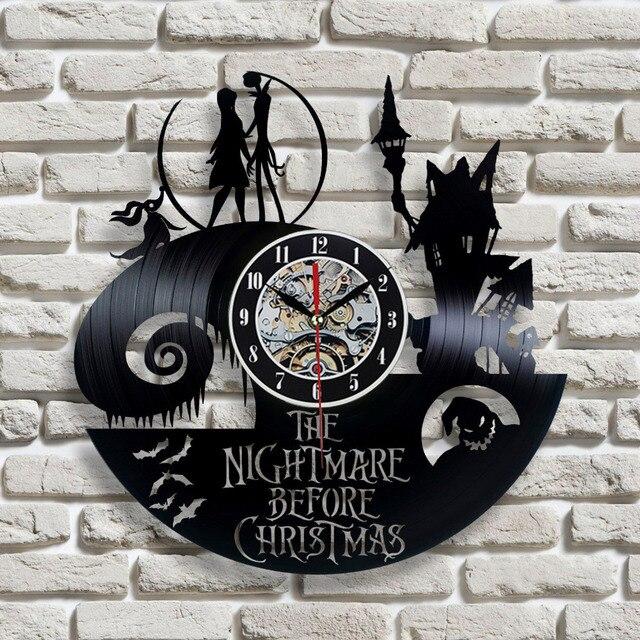 2018 Новый Виниловая пластинка настенные часы Джек и Салли классический Часы кварцевый механизм horloge Reloj