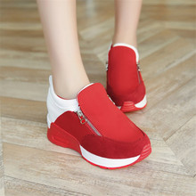 2019 Women Shoes Lace-Up Bottom Platform Wedges Summer Outdoor Flat Sneakers Black Red Canvas