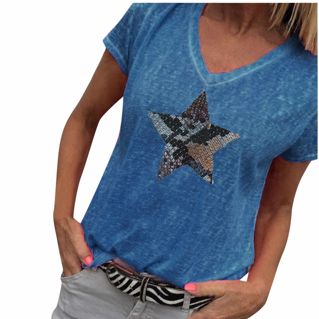 5XL Plus Size Tops Women White Sequined Star Patchwork Cotton Polyester Ladies Summer Sequined V Neck Casual Top Casual