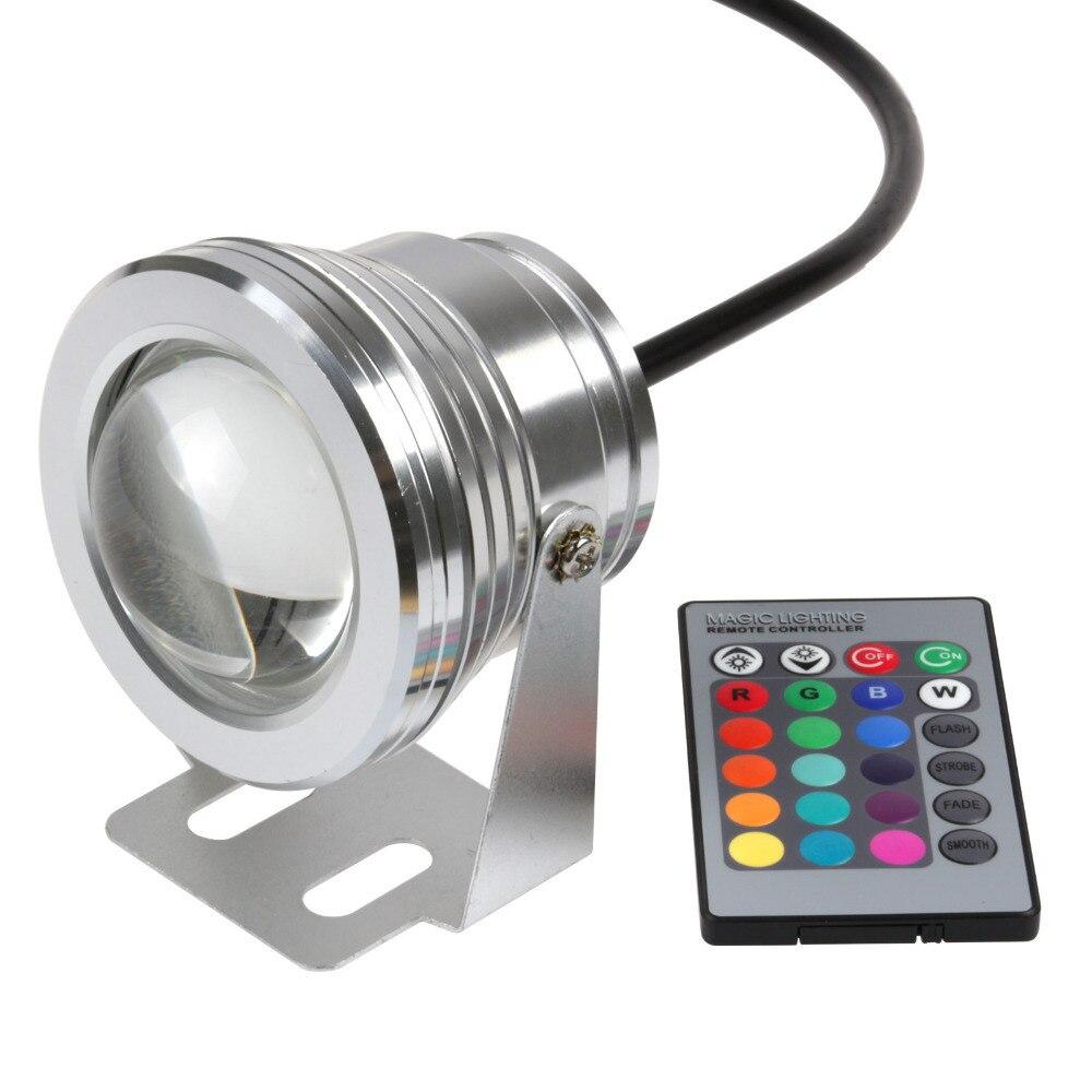 10Pcs outdoor underwater RGB led pool light,LED piscina Flood Spot Light Lamp 12v10W IP68 ,24Key IR Remote swimming pool party