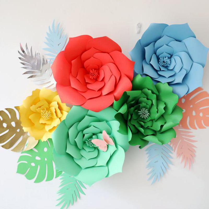 Giant card stock paper flowers with leaves full wall wedding giant card stock paper flowers with leaves full wall wedding backdrops decoration windows display photo booth para decora o in artificial dried flowers mightylinksfo