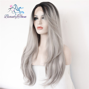 Image 5 - BeautyTown L Lace Part Handmade Black Ombre Grey Heat Resistant Hair Salon Party Women Daily Makeup Synthetic Lace Front Wigs