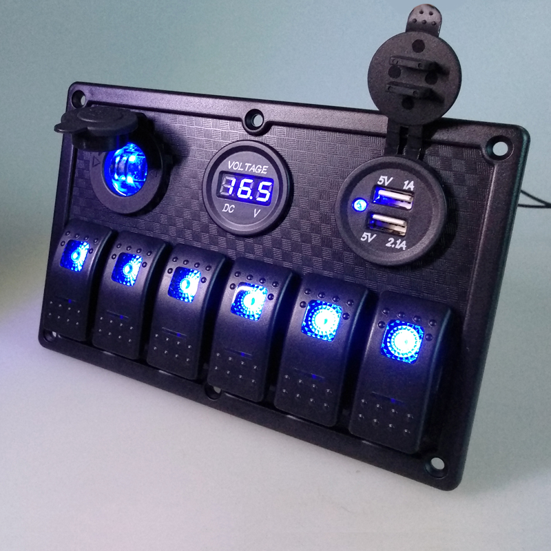 Image 5 - 12V 24V Waterproof 6 Gang Blue LED Rocker Switch Panel Toggle Circuit Breaker Dual USB Toggle Control Switch RV Car Boat Marine-in Car Switches & Relays from Automobiles & Motorcycles