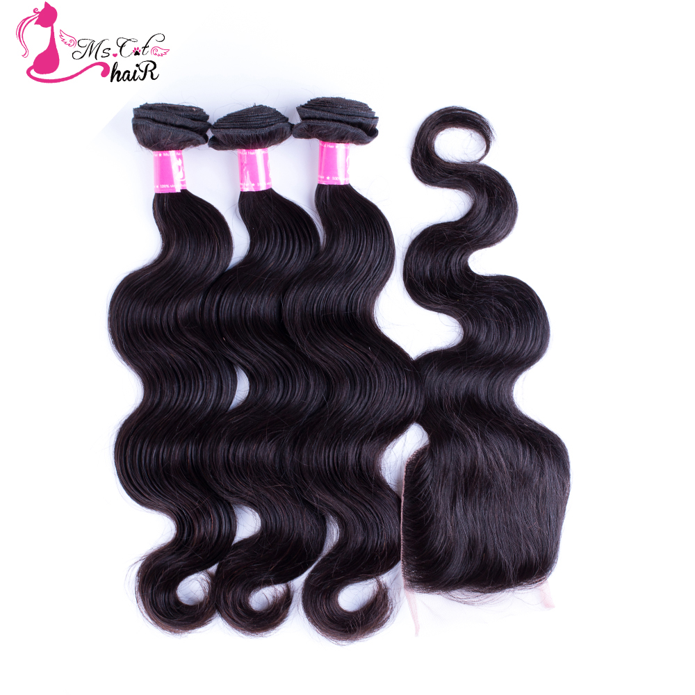 Ms Cat Hair 3 Bundles Peruvian Body Wave With Closure 100% Human Hair Weave Bundles With Closure 4Pcs/lot Remy Hair Extensions