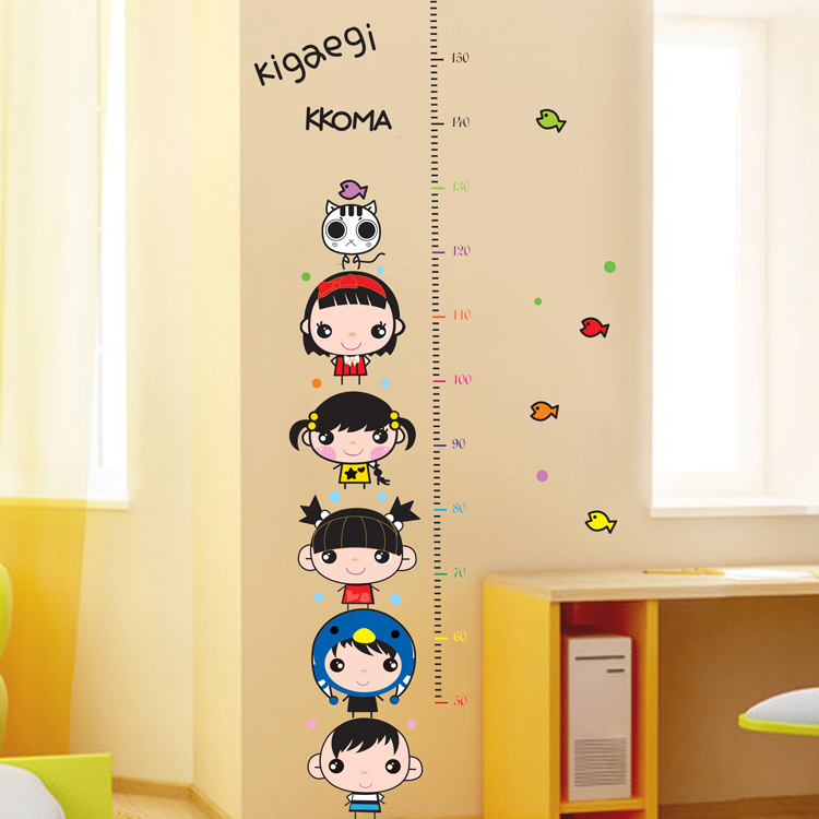 Cartoon Cute Children Height Family Decor Wall Stickers Novelty Households Bathroom Wall Decals Decoration Mirror Poster